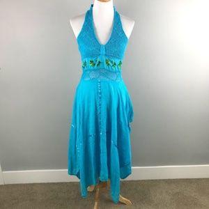 Dresses & Skirts - Blue Crochet Dress S Floral Halter Mexican Vintage